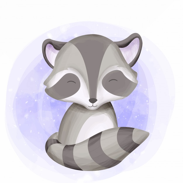 Cute raccoon baby smile con la sua coda