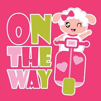 Cute sheep girl è illustrazione fumetto vettoriale felice per la progettazione t shirt kid, pareti vivaio e carta da parati