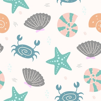 Cute shell animal seamless pattern per carta da parati