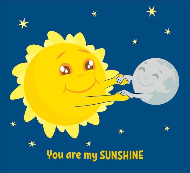Cute sun and moon dancing