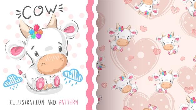 Cute teddy cow - seamless pattern