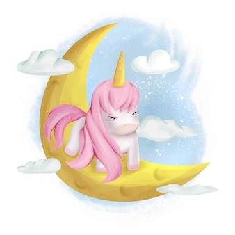 Cute unicorn baby in the moon