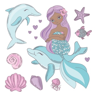 Cutie baby black mermaid illustration