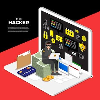 Cyber ladro di attività di concetto di design piatto hacker