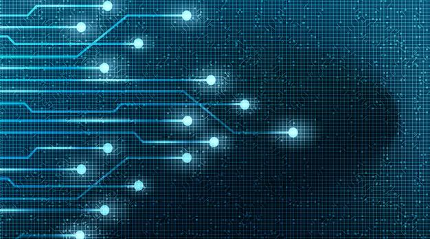 Cyber light technology microchip su sfondo futuro, digitale hi-tech e concetto di sicurezza