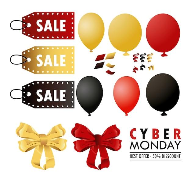 Cyber lunedì con colori impostati palloncini elio e tag.