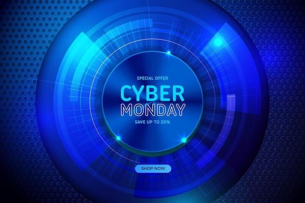 Cyber lunedì tecnologia realistica nell'occhio astratto android