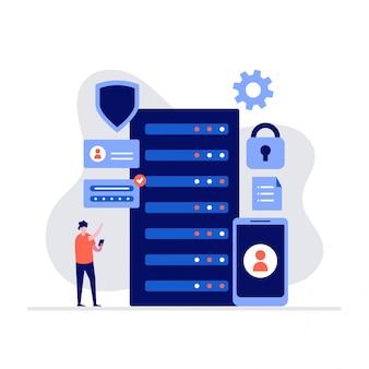Cyber security e concetto di illustrazione di archiviazione dei dati con i personaggi.