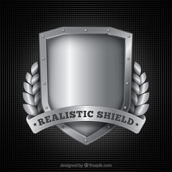 D'argento realistico scudo sfondo