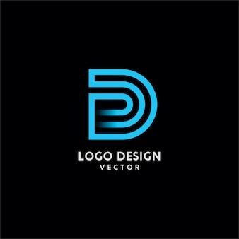 D lettera tipografia logo design