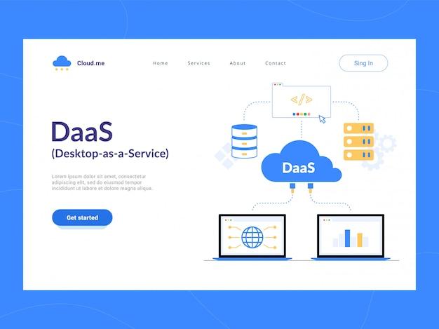 Daas: prima schermata della pagina di destinazione di desktop as a service. schema di cloud computing virtual virtual desktop o desktop virtualization. ottimizzazione del processo aziendale per startup, piccole aziende e imprese.