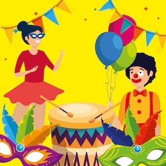 Dacer donna e clown uomo con palloncini e maschere decorazione