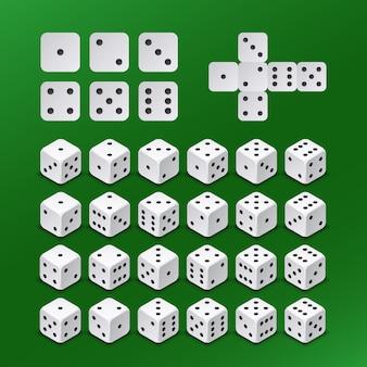 Dadi di gioco d'azzardo dei dadi in tutte le posizioni possibili insieme di vettore. cubo di dadi per giocare illustrazione gioco d'azzardo