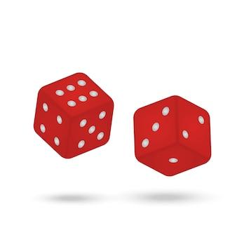 Dadi rrealistici del gioco isolati su fondo bianco