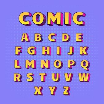 Dalla a alla z 3d alfabeto comico in giallo con ombre rosa