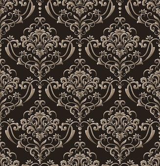 Damasco senza cuciture in rilievo. modello barocco floreale squisito vintage.