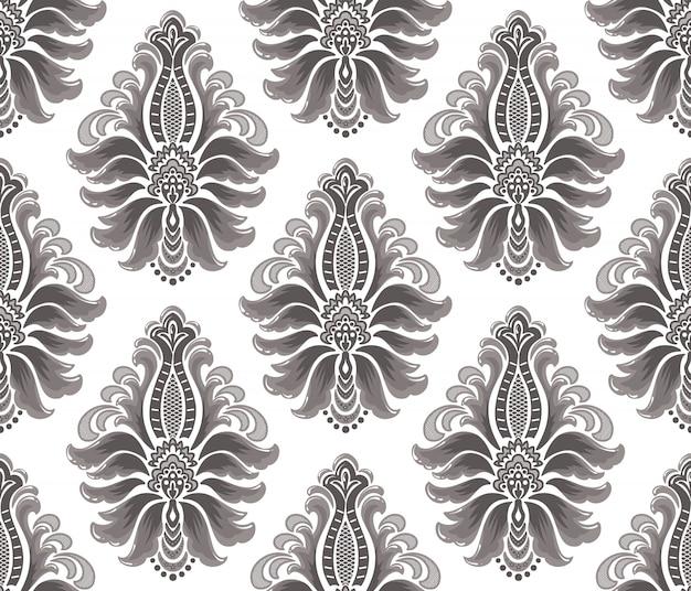 Damasco senza cuciture in rilievo. ornamento di damasco antico di lusso classico, trama senza soluzione di continuità vittoriana reale. modello barocco floreale squisito vintage.
