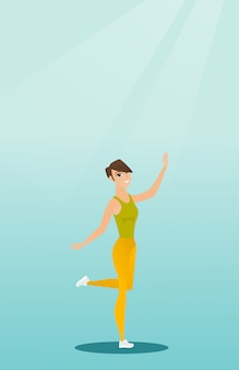 Dancing caucasico allegro della ballerina della donna.