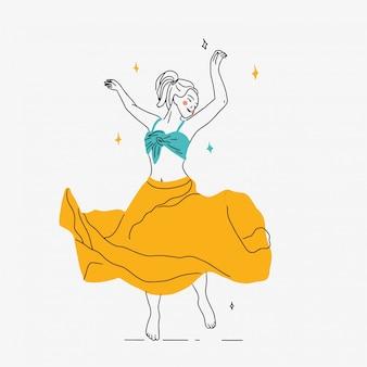 Dancing giovane donna illustrazione vettoriale