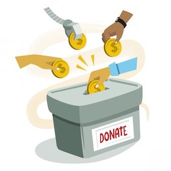 Dando il concetto di illustrazione donazione