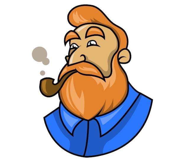 Dandy beardman fuma la pipa