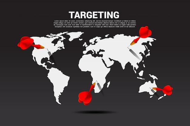 Dardo freccia colpito sulla mappa del mondo