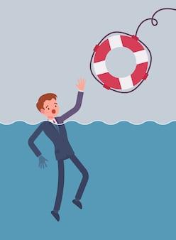 Dare un salvagente per annegare l'uomo d'affari