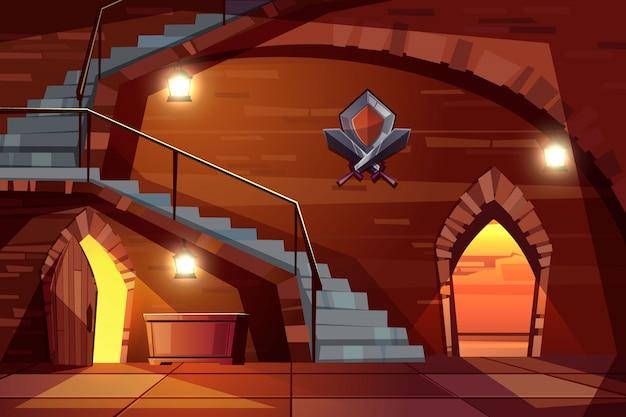 Dark dungeon del castello medievale con pareti di pietra, lunga scalinata