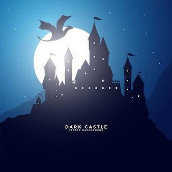 Dark fantasy castle su una collina con flying dragon