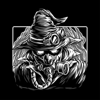 Dark mystery black & white illustration
