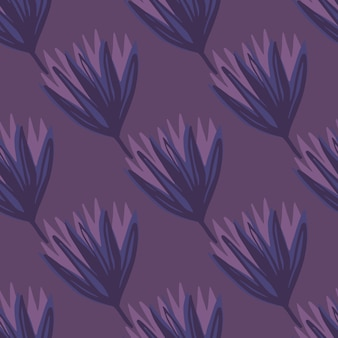 Dark seamless tulip bud pattern. sagome di fiori e sfondo in toni viola. semplice sfondo botanico.