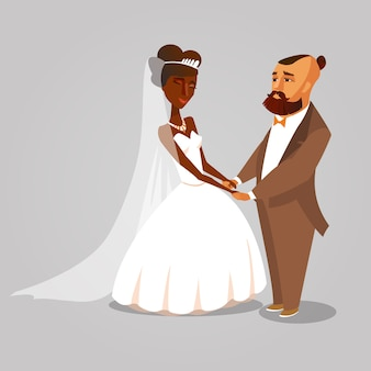 Dark skin wife vector character