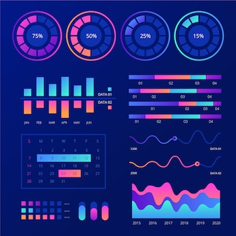 Dashboard infographic template element pack