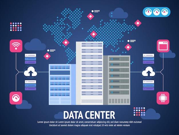 Data center cloud connessione al computer hosting server database sincronizza tecnologia
