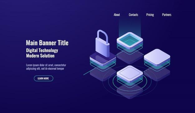 Data center, concetto isometrico di protezione dei dati dell'icona, protezione della serratura, controllo di accesso di tecnologia