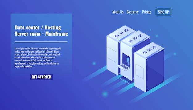 Data center, hosting di siti web, rack di server room, risorse mainframe, datacenter