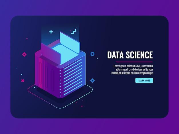Data center, scatola aperta, concetto di installazione di applicazioni e programmi, modulo di dispositivi futuristici