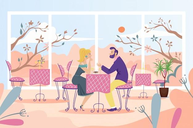 Data delle coppie alla tavola del caffè, illustrazione. le persone uomo donna personaggio hanno appuntamento romantico nel ristorante vicino alla grande finestra