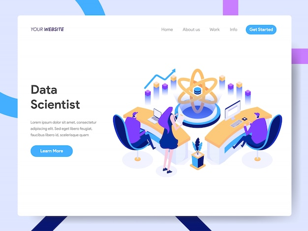 Data scientist isometric illustration per la pagina web