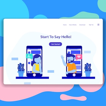 Data social app landing page illustration