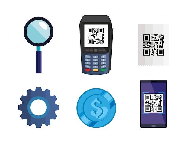 Dataphone con codice qr scan e icone impostate
