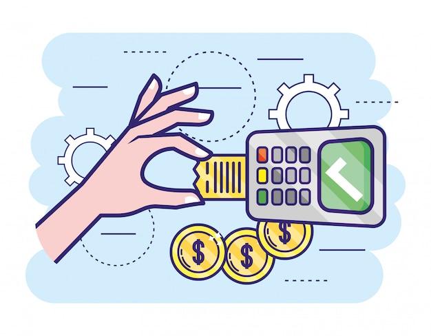 Dataphone elettronico con monete e informazioni sui dati