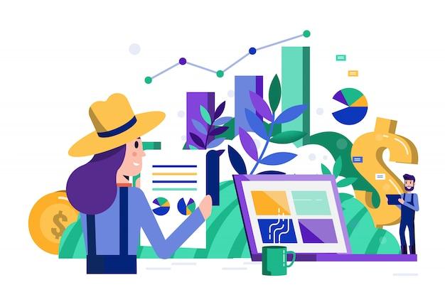 Dati analitici degli agricoltori astuti e finanziari sul computer portatile.