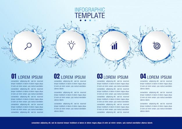 Dati aziendali infografici con 4 passaggi