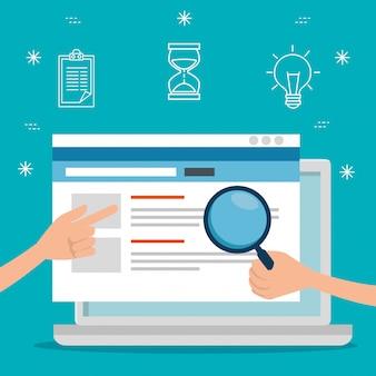 Dati del sito web di tecnologia e strategia per laptop