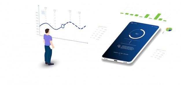 Dati di analisi e investimenti. dati analitici su laptop isometrico. statistiche online e analisi dei dati. mercato monetario digitale, investimenti, finanza e trading.