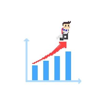 Dati di bussiness pixel con ragazzo jetpack.