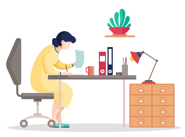 Dati di ricerca della donna del fumetto nei documenti che si siedono al tavolo in ufficio