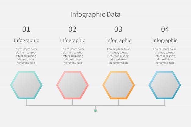 Dati infografici 4 step, dati di connessione di linea