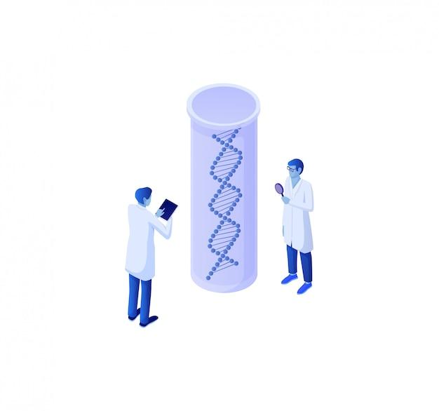 Dati isometrici di analisi genetica di biotecnologia. raccolta studio esperimento biochimico di dati genetici.